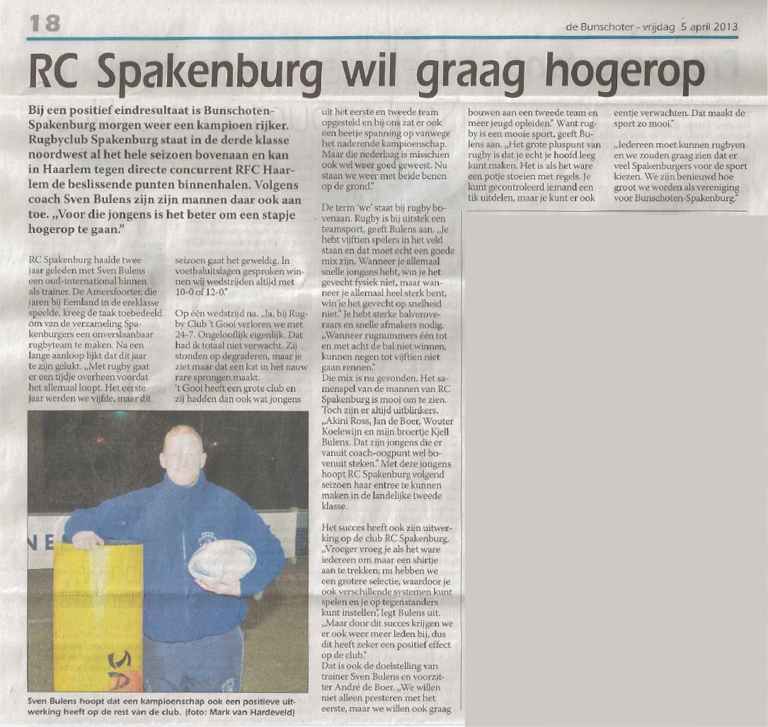 RC Spakenburg Wil Graag Hogerop